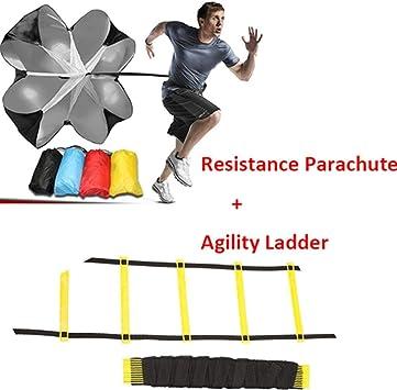 na Speed Paracaídas Agility Paraguas, paracaídas y escalera de agilidad de 6 m, 12 peldaños, para fútbol o correr, entrenamiento, color como el de la imagen.: Amazon.es: Deportes y aire libre