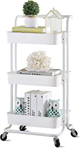 Vsadey 3 Tier Rolling Utility Cart with Wheels and Handle, Heavy Duty Mobile Kitchen Storage Cart Craft Cart Storage Trolley for Kitchen, Bathroom, Office Organization, Easy Assembly (White)
