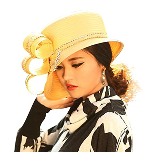 ce8447fed June's Young Women Church Hat Satin Hat Fashion Formal Top Hats Bow Stones