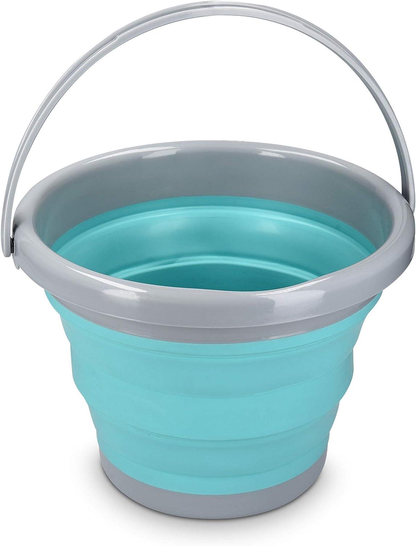 Navaris Cubo Plegable para Camping - Balde de Agua con asa de 5 L para Fregar Lavar Limpieza - Barreño Flexible para Viaje Playa Pesca - Azul y Gris