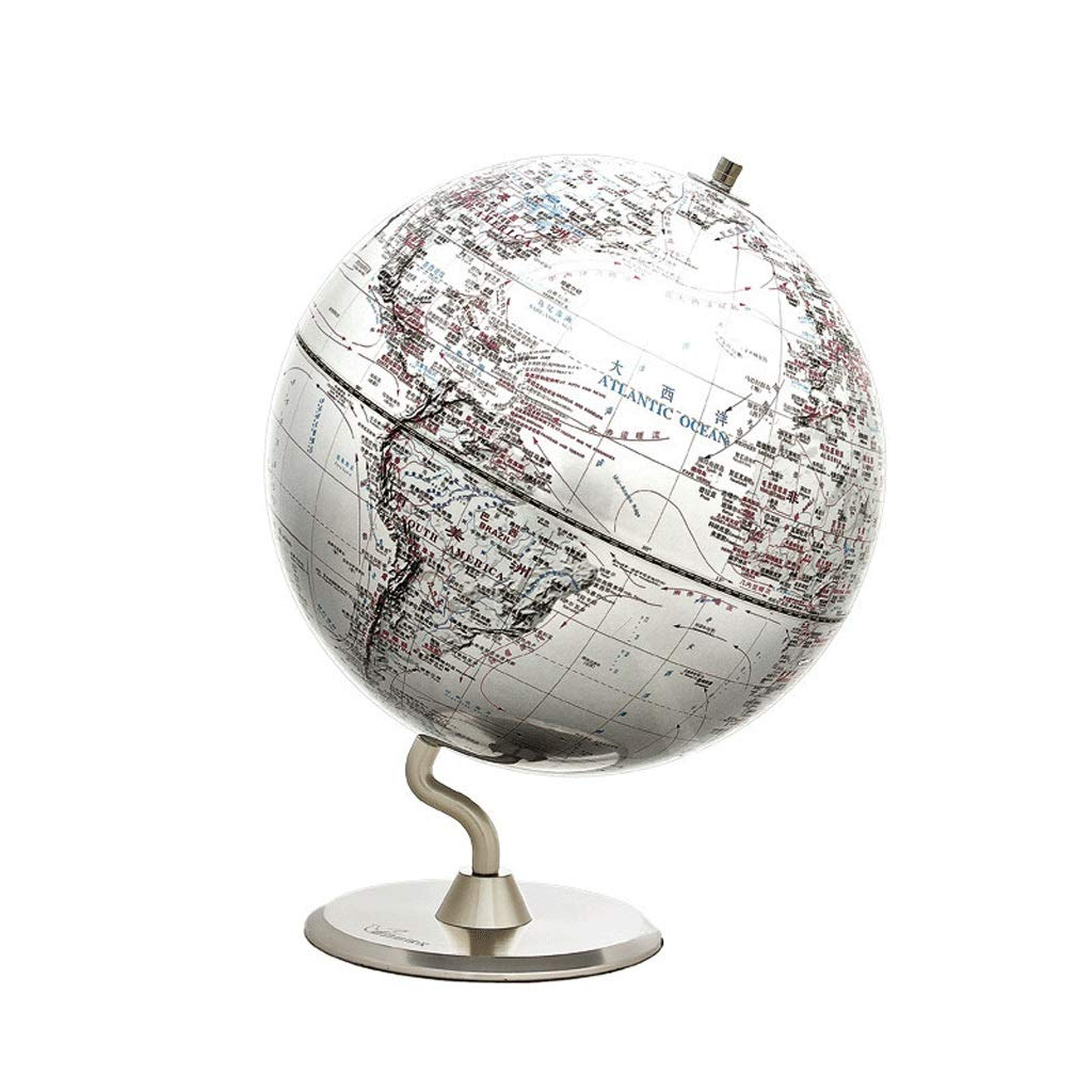 QJBH888 XWQBH Metal Stainless Steel Base Environmentally Friendly Impact Polystyrene Earth Instrument Home Accessories Geography Teaching Material Bilingual High-Definition Durable Size: Diameter