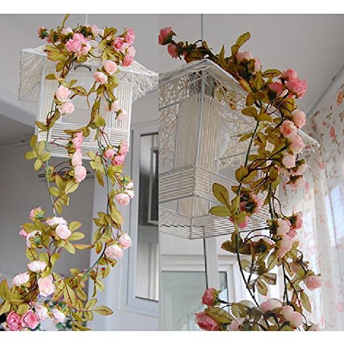 ArtificArtificial Fake Silk Rose Flower Vine Hanging Garland Wedding Party Home Decorial Fake Silk Rose Flower Vine Hanging Garland Wedding Party Home Decor