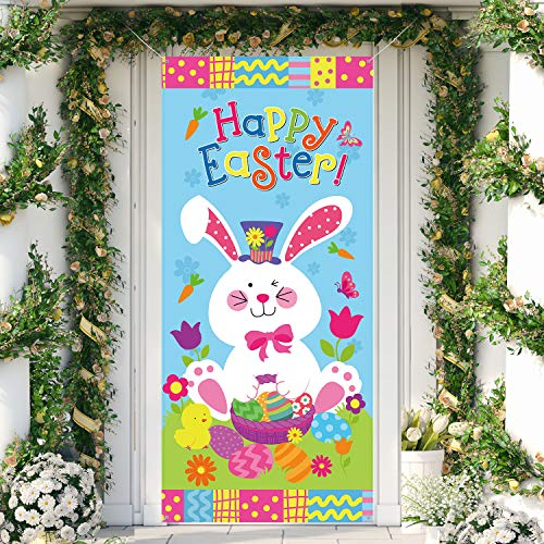 Happy Easter Door Cover, Large Fabric Easter Bunny Door Cover Egg Easter Door Banner Party Accessory Hanging Banner Sign Decoration for Happy Easter Party Favors, 78 x 35.4 Inch
