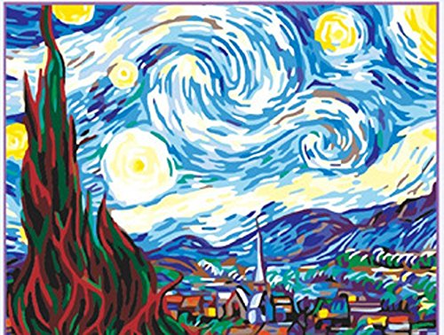 Greek Art Paintworks Paint Color By Number Kit,Starry Night by Vincent Van Gogh styleA,12-Inch by 16-Inch