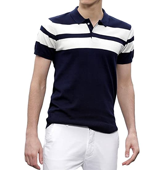 9393a125bcebf Scatchite Men s Matte Half Sleeve Navy Blue with White Contrast Striped Polo  T-Shirt
