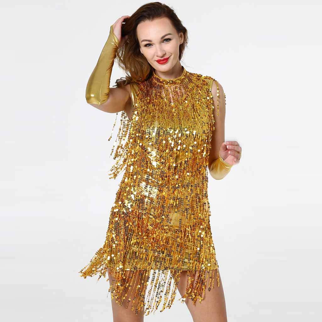 Rambling New Women Hang Neck Sequin Tassel Dance Skirt Latin Dance Costume Gold by Rambling Women's Dress (Image #3)