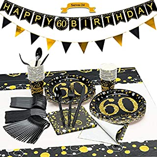 CrzPai 60th Birthday Party Supplies,Black and Gold Tableware with Bunting Banners Disposable Dinnerware Set Paper Birthday Plates, Napkins, Cups, Tablecover,Forks, Knives and Spoons for 24 Guests