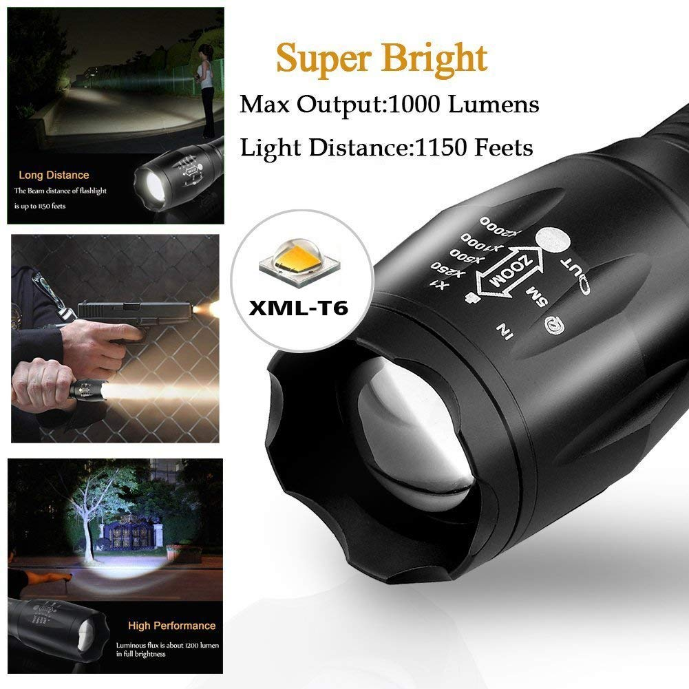BOSWEE Rechargeable Torch 800 LM Ultra Bright XML-T6 Taclight... LED Torch