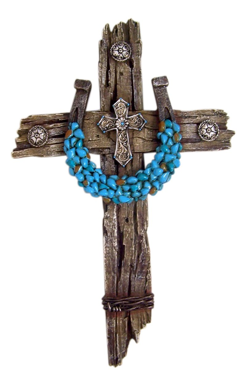 Rustic Wood Wall Cross with Turquoise Accent Horseshoe, 12 1/2 Inch