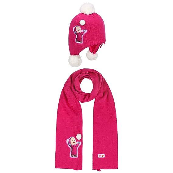 c76aa9612c08 Set Bonnet + Echarpe Macha et l ours en Tricot pour l hiver (Taille Unique  - Pink)  Amazon.fr  Vêtements et accessoires