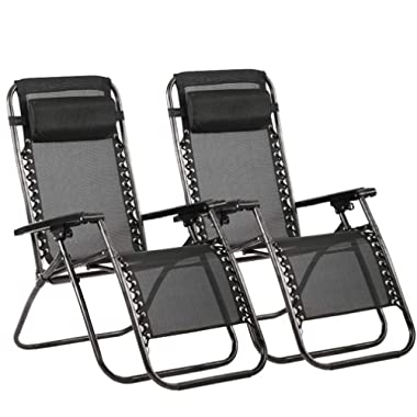 BestMassage Zero Gravity Chair Patio Lounge Recliners Adjustable Folding Set of 2 for Pool Side Outdoor Yard Beach, Black