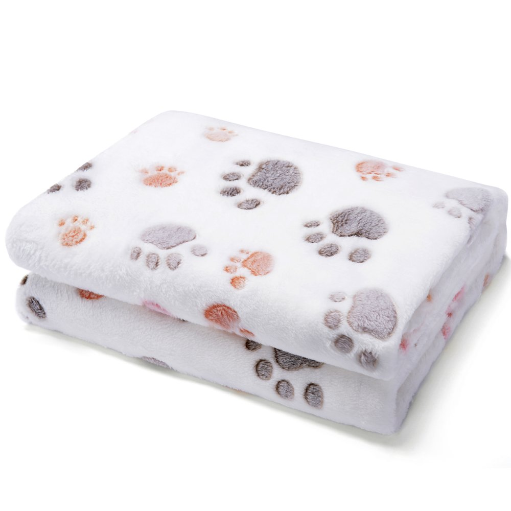 Allisandro Super Soft and Fluffy Premium Flannel Fleece Dog Throw Blanket,Appealing and Cute Paw Prints Equally for Puppy Cat Beige[100% Flannel Fleece]