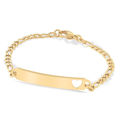 206570aa719c2 Speidel Childrens Identification Bracelet - Stainless Steel Silver and Gold  Tone Engravable Plaque with Heart Cut Out