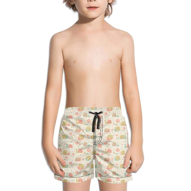 Ina Fers.Quick Dry Swim Trunks Cute Snail Love Flowers Cartoon Shorts Boys