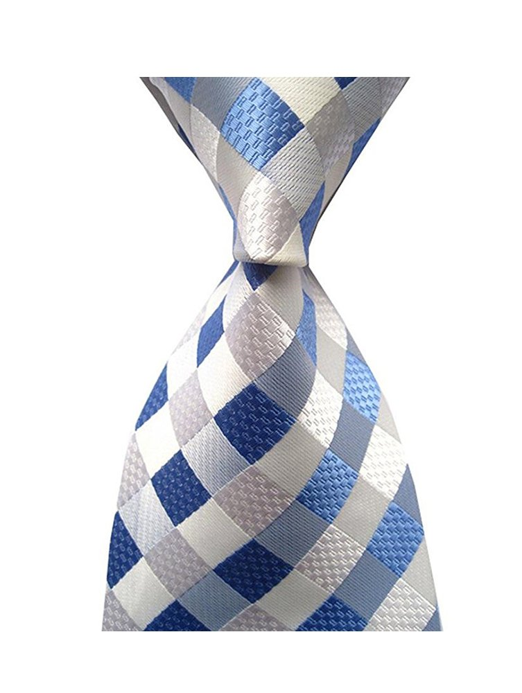 Eneston Men's Classic Checks Light Blue Jacquard Woven Silk Tie Necktie