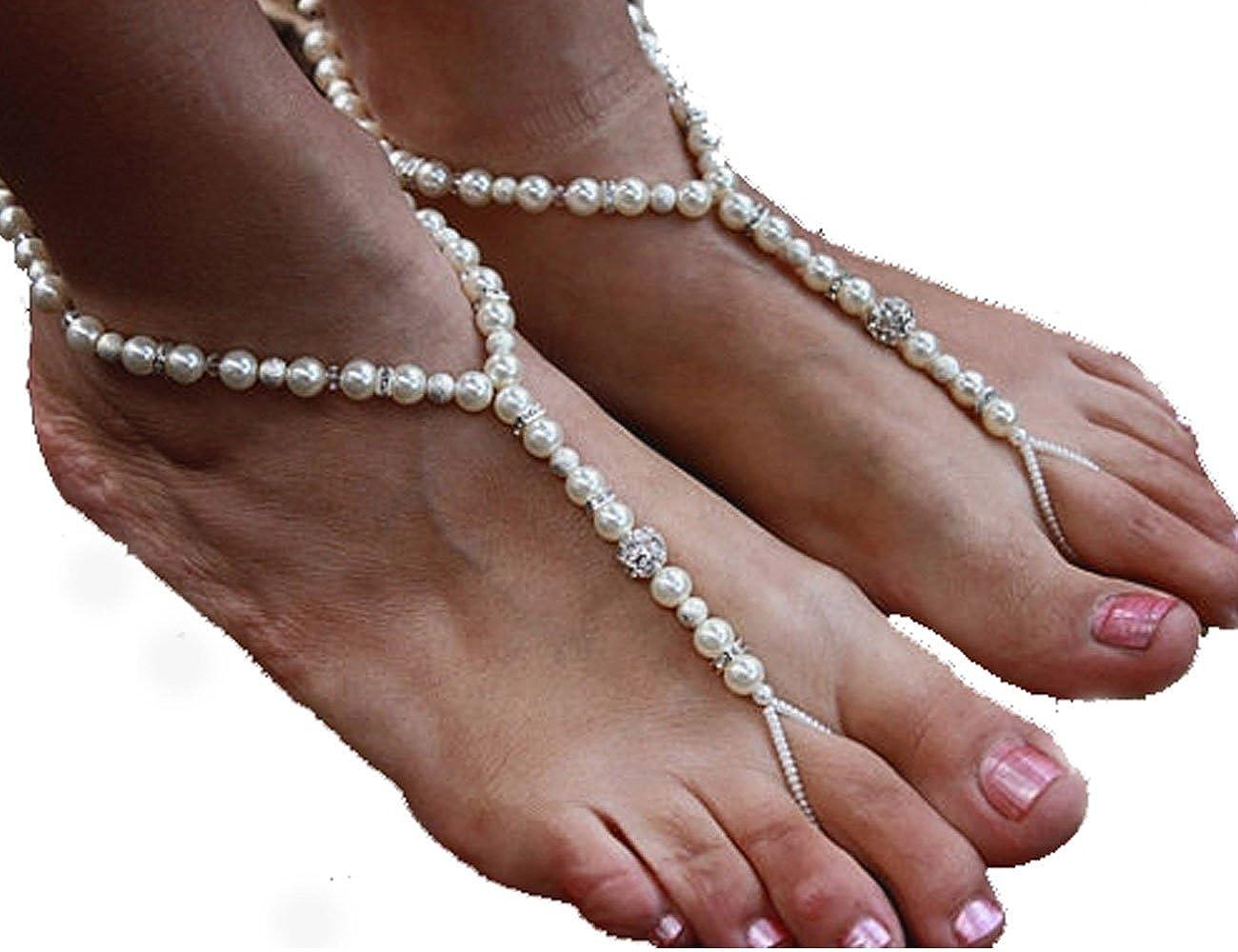 a7917b206c2f Amazon.com  Abandon Girl Crystal Barefoot Sandals Vacation Beach Fun  Jewelry Sexy Body Chain Wedding Jewelry Size 7-8  Jewelry