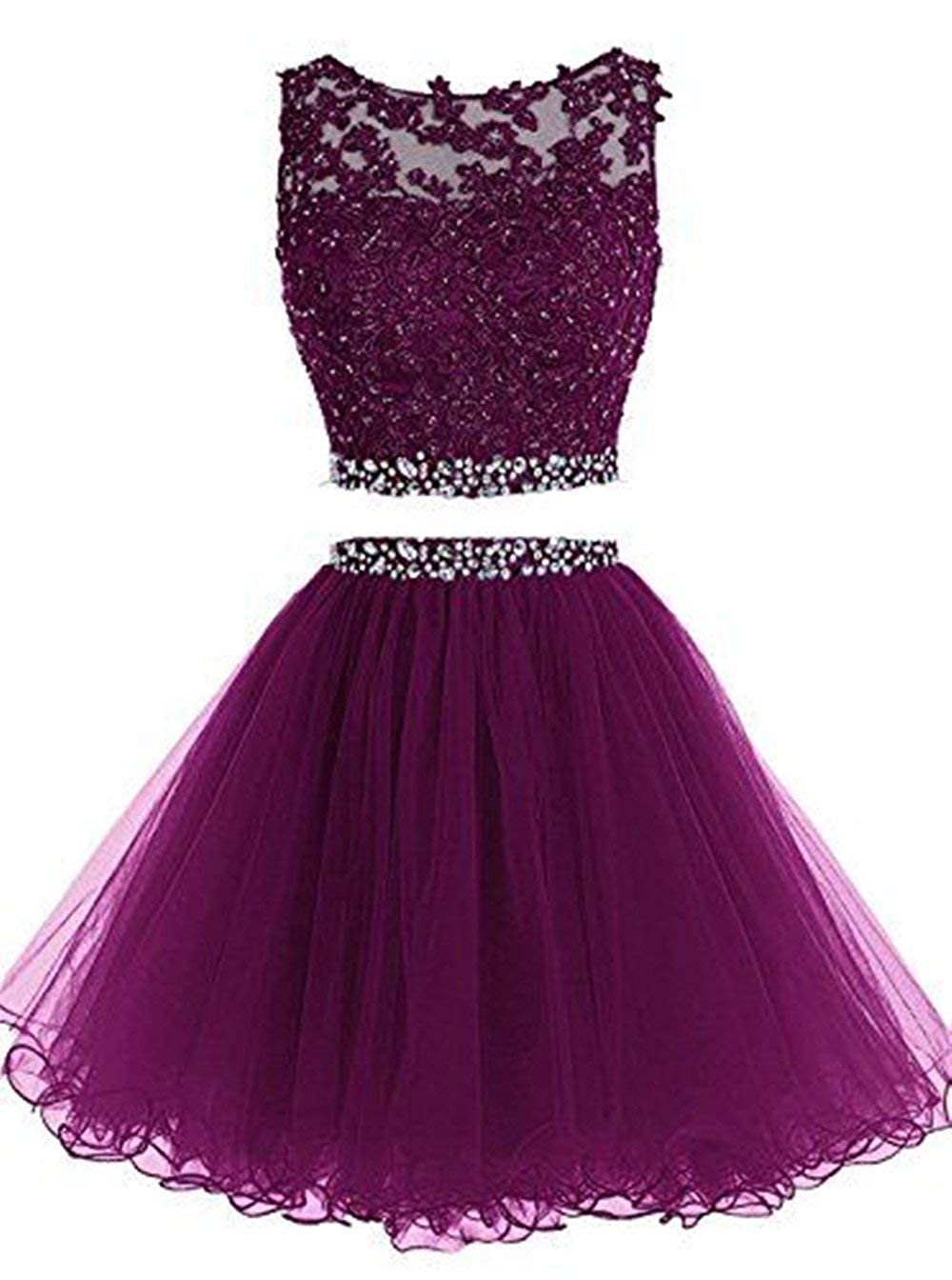 Fuchsia Clothfun Women's Short Beaded 2 Piece Homecoming Dresses Tulle Prom Dress Cocktail Party Gown 042