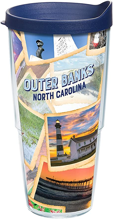 Tervis 1236808 North Carolina Outer Banks Collage Tumbler with Wrap and Navy Lid 24oz Clear