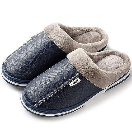 Zapatillas de Estar por casa para Mujer Impermeables de PU Pantuflas Térmicos de Invierno Suave Algodón Casa Zapatos Cómodo Y Antideslizante: Amazon.es: ...