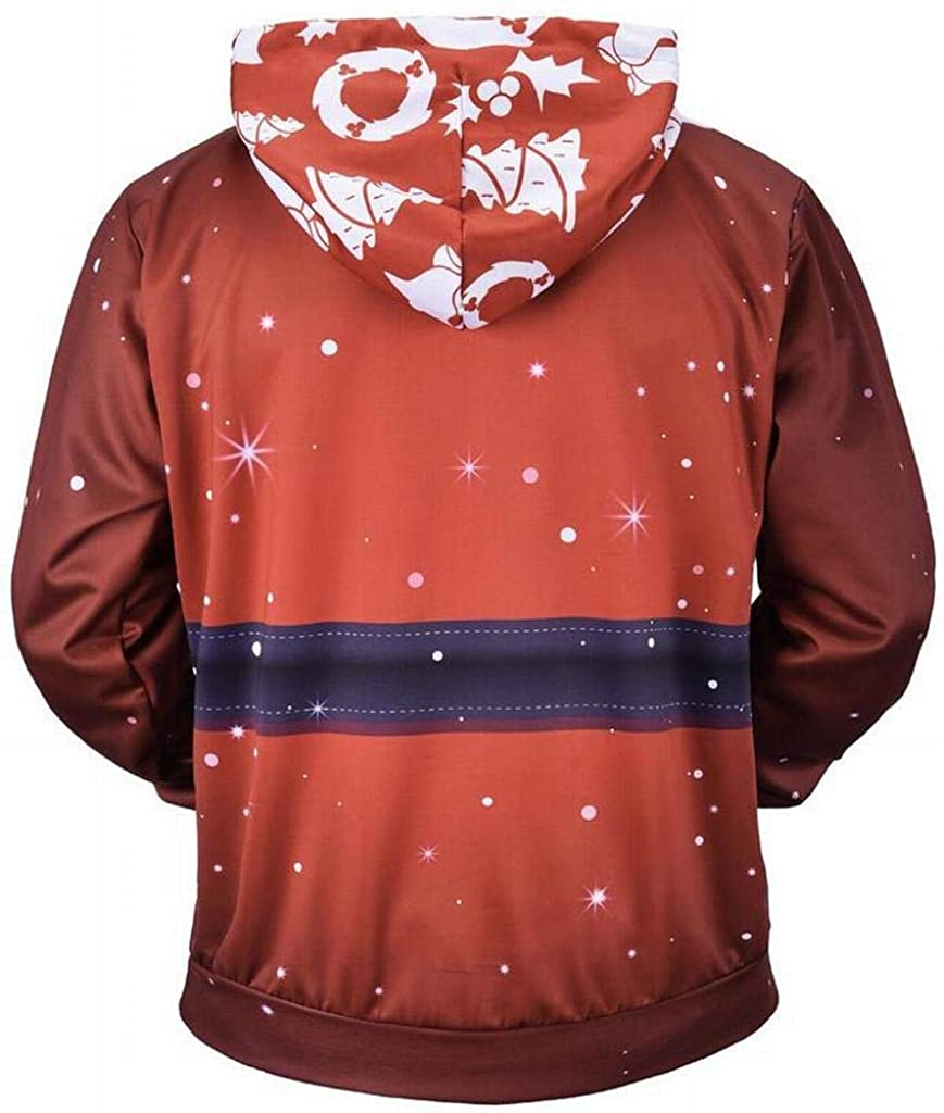 DFBB Men Floral Casual 3D Print Loose Fit Christmas Pullover Hoodie Sweatshirt