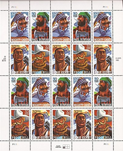 Folk Heroes (Mighty Casey, Paul Bunyan, John Henry, Pecos Bill) 20 x 32-Cent U.S. Postage Stamps ()