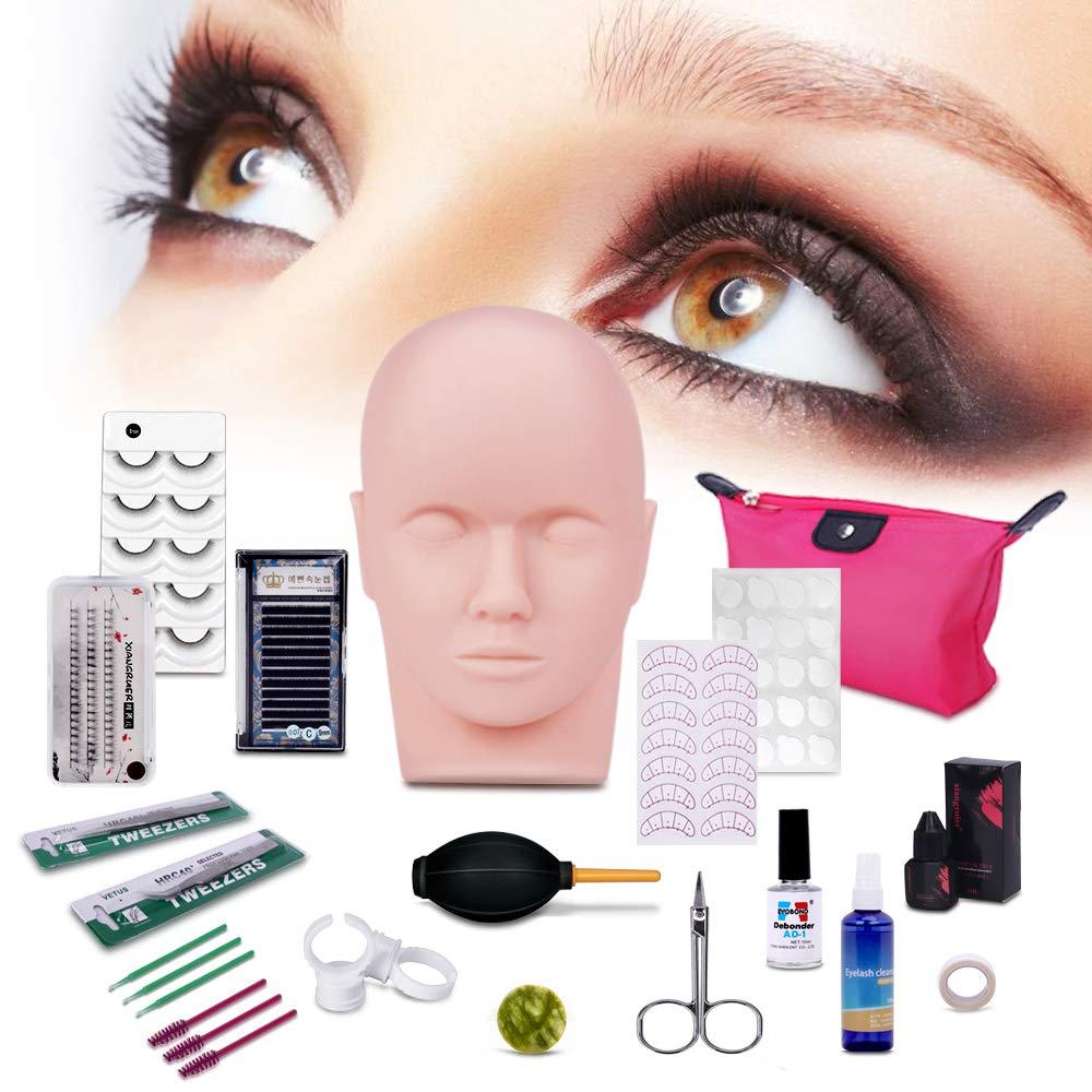 Professional Eyelashes Kit, MYSWEETY 19pcs False Eyelashes Extension Training MakeUp False Eyelashes Extension Glue Tool Practice Kit for Makeup Practice Eye Lashes Graft with Mannequin Training Head
