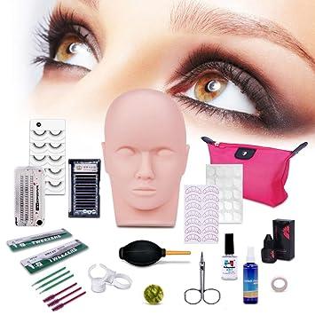 373276ea9b7 Amazon.com : Professional Eyelashes Kit, MYSWEETY 19pcs False Eyelashes  Extension Training MakeUp False Eyelashes Extension Glue Tool Practice Kit  for ...