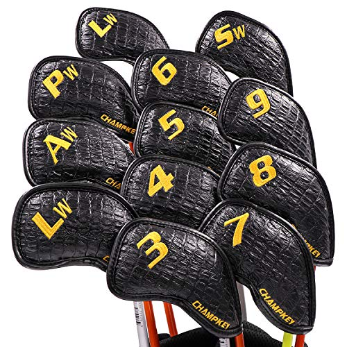 Champkey Monster Golf Iron Head Cover Pack of 12pcs - More Thick,More Protection,More Durable Club Covers Ideal for Titleist, Callaway, Ping, Taylormade,Cobra Etc (Monster-Black, LITE)