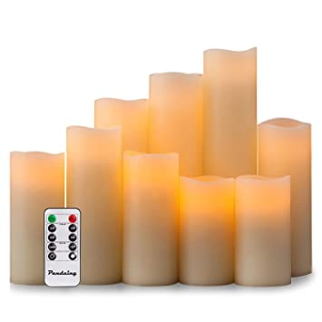Amazoncom Pandaing Flameless Candles Battery Operated Led Pillar