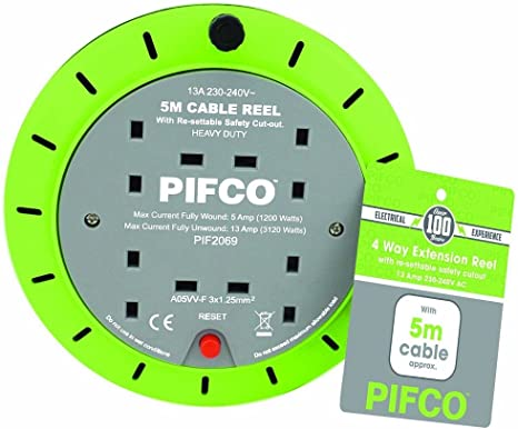 PIFCO 10M 2 Way 10 AMP Electric Extension Cable Reel Mains Plug /& Socket Lead UK
