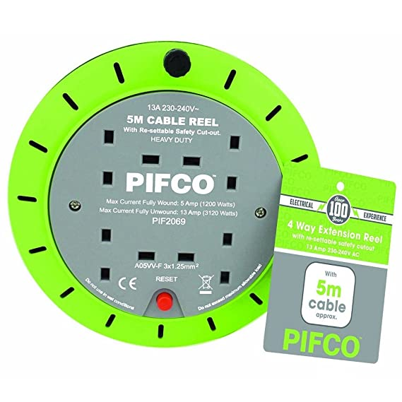 PIFCO Extension Reel Electric Wire Heavy Duty 5M, 10M: Amazon.co.uk ...