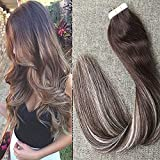 Full Shine 20″ 20 Pcs 50Gram Per Package Color#3 Dark Brown Tape in Hair Extensions Mix With #3 and #24 Double Sided Tape Hair Extensions For Sale