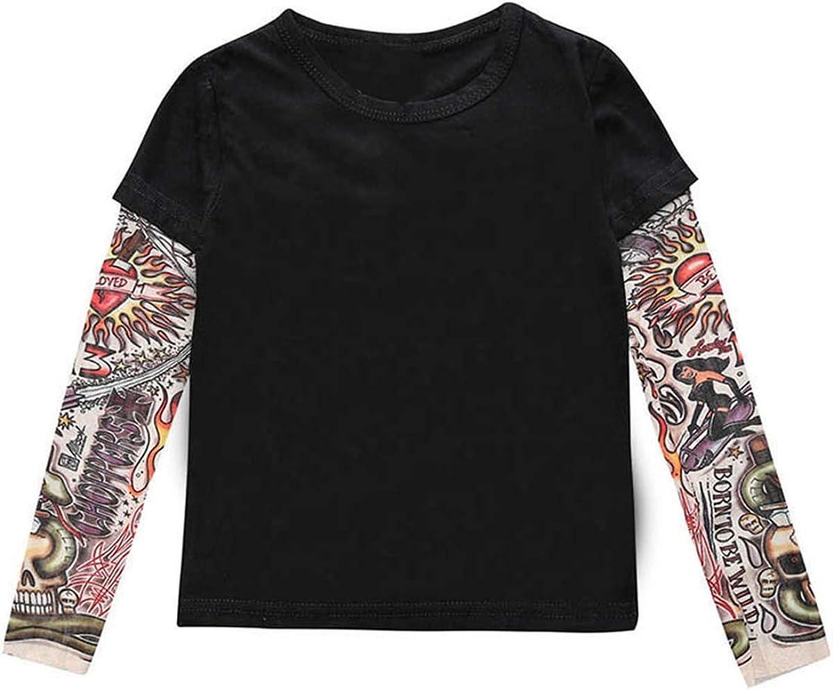 DaMohony Kids Toddler T-Shirt Long Sleeve Tattoo Print Pullover Top Shirt