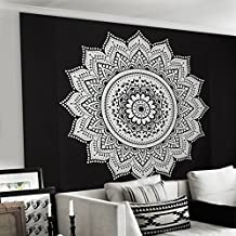 Tapestry Hub-Black And White Mandala 90x108 Indian Traditional Hippie Cotton Tapestry