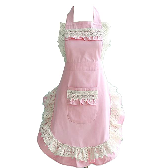 1950s House Dresses and Aprons History Lovely Lace Work Aprons Home Shop Kitchen Cooking Tools Gifts for Women Aprons for Christmas Giftpink $13.99 AT vintagedancer.com