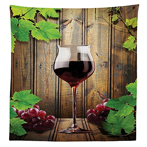 Kitchen Decor Tablecloth Wine Glass Grapes Rustic Wood Kitchenware Home and Cafe Interior Art Design Dining Room Kitchen Rectangular Table Cover Brown Green Burgundy