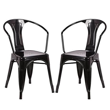 Costway Tolix Style Dining Chairs Industrial Metal Stackable Cafe Chairs W/  Curve Armrest Set Of