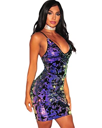 f46eb218 Image Unavailable. Image not available for. Color: Romacci Women Sparkling Sequin  Dress Plunge ...