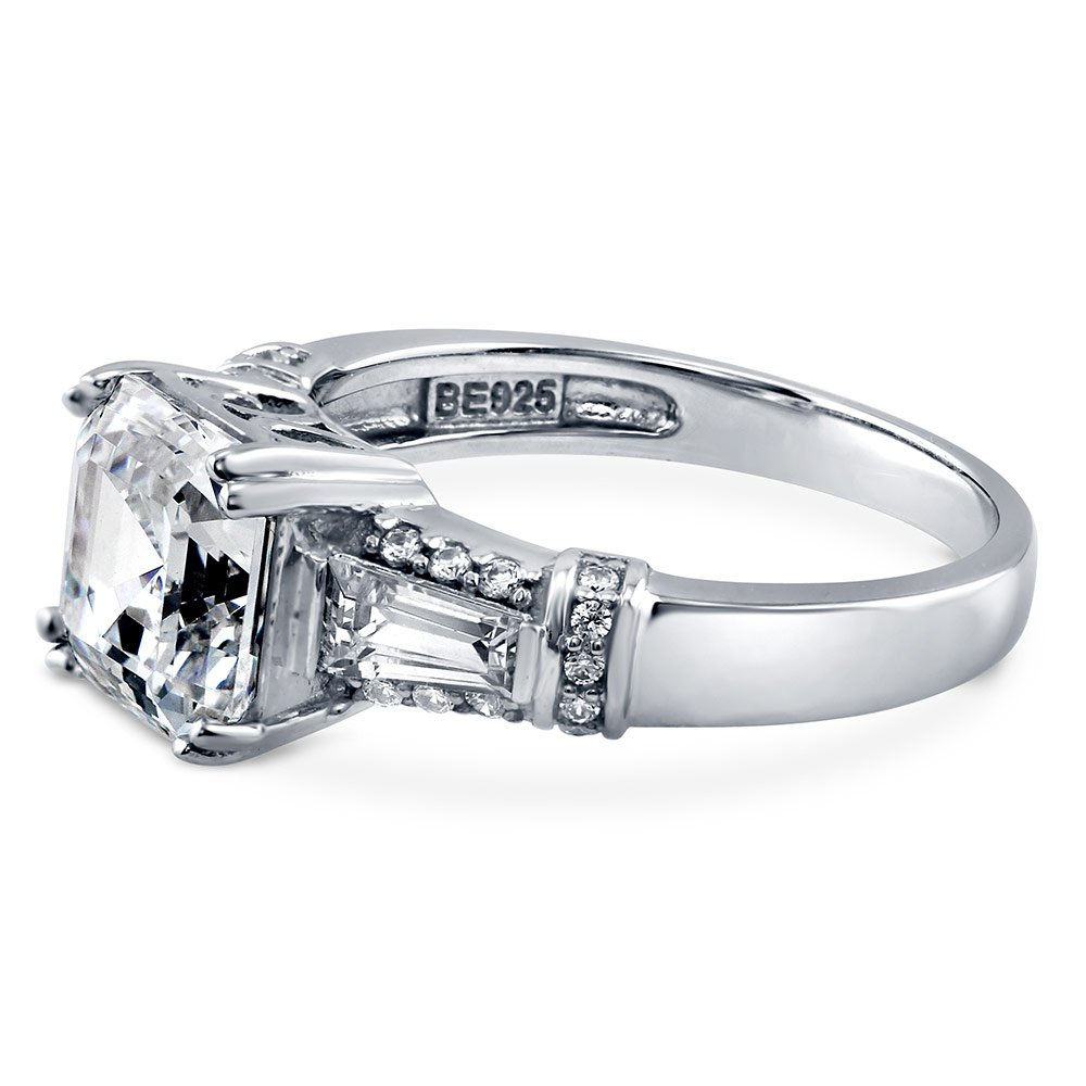 BERRICLE Rhodium Plated Silver Asscher Cut Cubic Zirconia CZ 3-Stone Engagement Ring 3.4 CTW Size 7 by BERRICLE (Image #2)