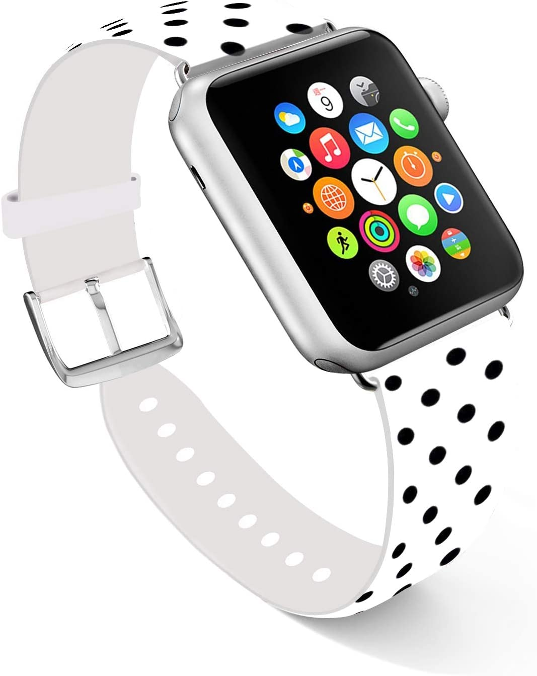 Ecute Compatible with Apple Watch Band 44mm 42mm, Soft Leather Band Strap Compatible with iWatch Series 6/5/4/3/2/1 44mm 42mm - Black Polka Dots