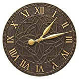 SKB family Artisan Outdoor Wall Clock, 16'' x 16'' x 1.25'' x 6.5 lbs, French Bronze