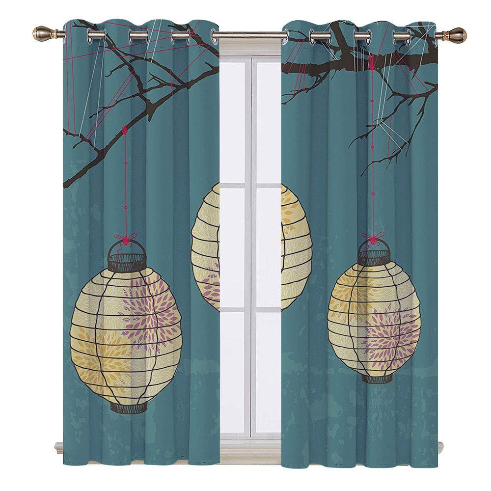 SATVSHOP Curtains - 72W x 72L Inch-Light Blocking Window Treatment for Bedroom Decor 2 Panels Set.Lantern Three Paper Lanterns on The Branch Lighting Fixture Source Lamp Boho Teal Yellow.