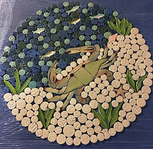 DIY Custom Kitchen or Bath Ceramic Tile Nautical Backsplash, Ocean Scene with Blue Crab.