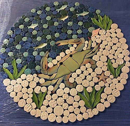 Beach Scene Tile (DIY Custom Kitchen or Bath Ceramic Tile Nautical Backsplash, Ocean Scene with Blue Crab.)
