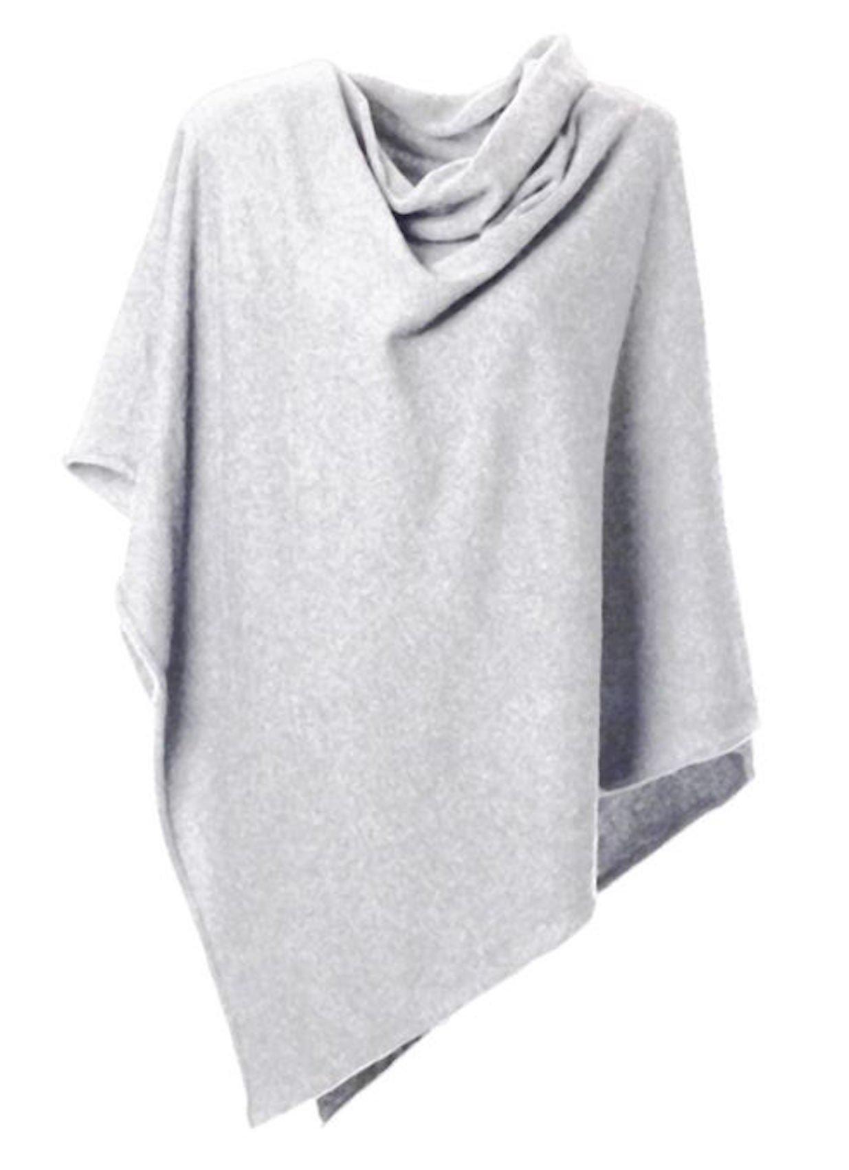 Anna Kristine Asymmetrical 100% Cashmere Draped Poncho Topper - Pearl Gray