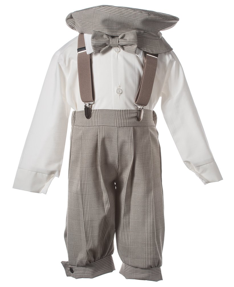Boys Tan Plaid Knicker Set with Elastic Suspenders and Pageboy Hat, 8 Boys