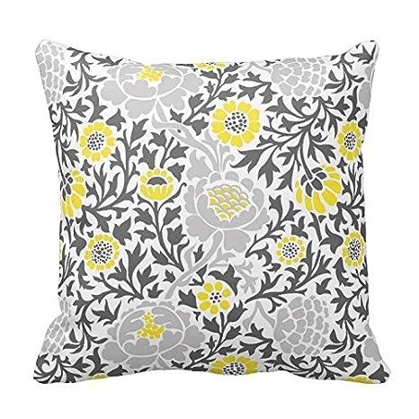Amazon.com: Amarillo y Gris Patrón Floral Throw funda de ...