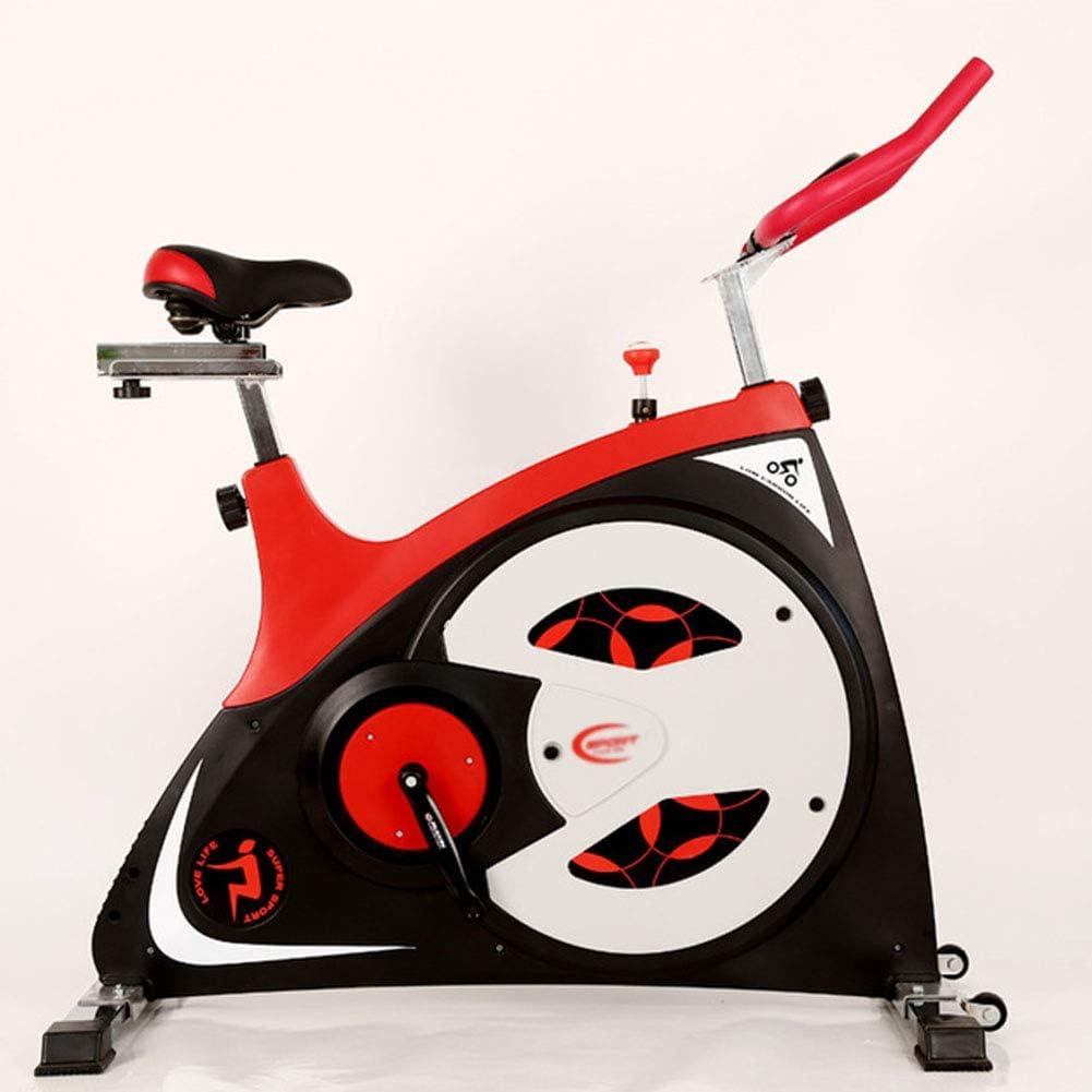 スピニングバイク、ホームミュートエクササイズバイク、屋内エクササイズバイク、フィットネス機器用バイク、クッションの高さ調節可能、耐荷重200kg,赤 赤