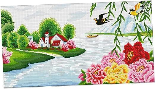 Kreuzstich Vorlagen Stickbild Stickpackung Vorgedruckte Landschaft für Kinder