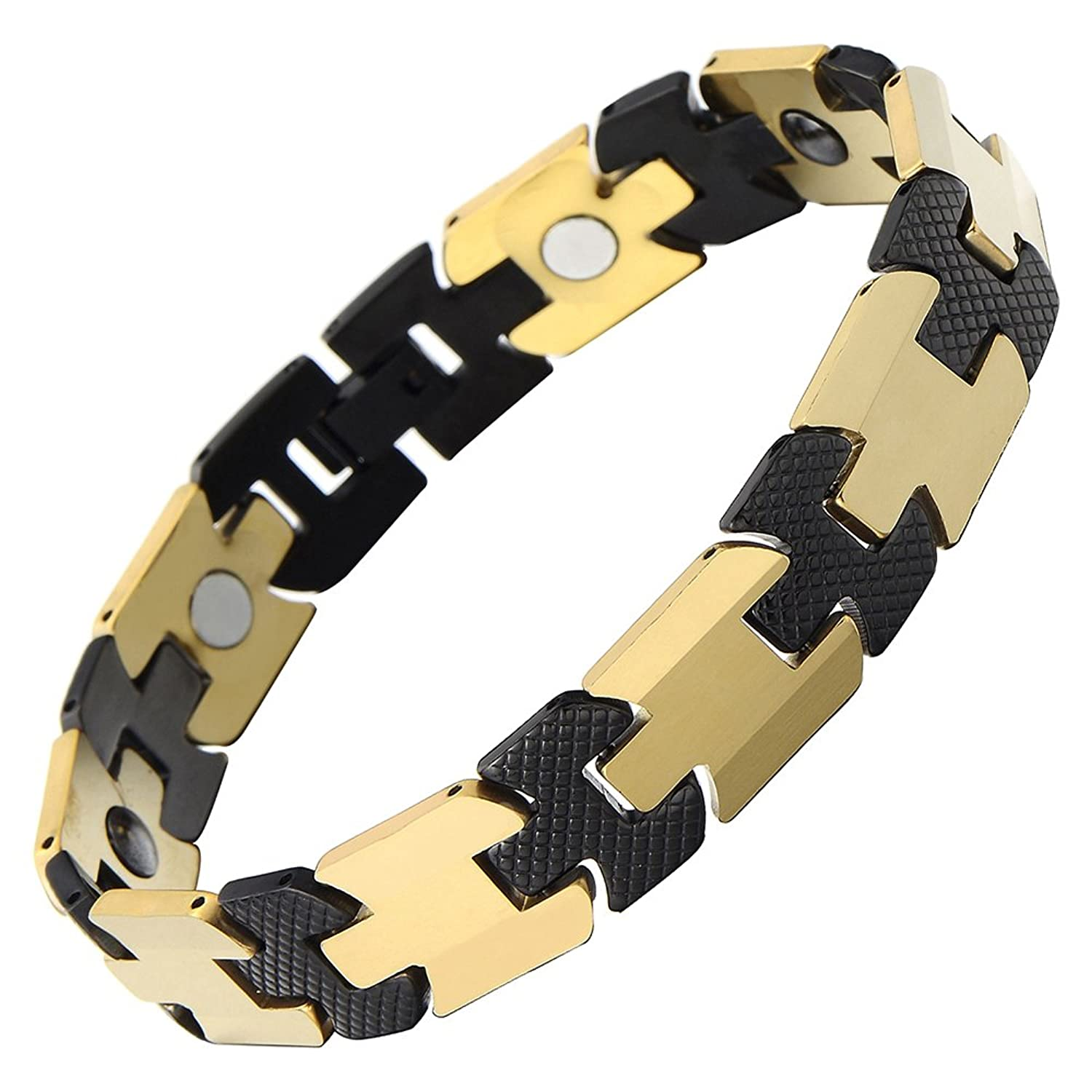 Timeless Style Tungsten Carbide Mens Magnetic Link Bracelet Black and Gold Two Tone